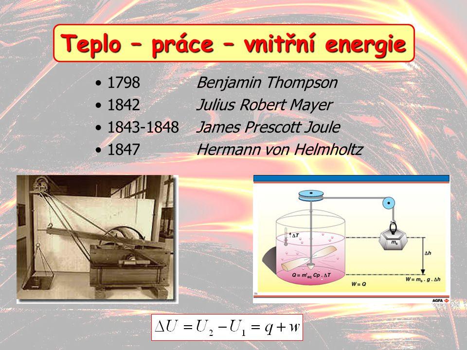 8 Teplo – práce – vnitřní energie 1798Benjamin Thompson 1842 Julius Robert Mayer 1843-1848James Prescott Joule 1847Hermann von Helmholtz