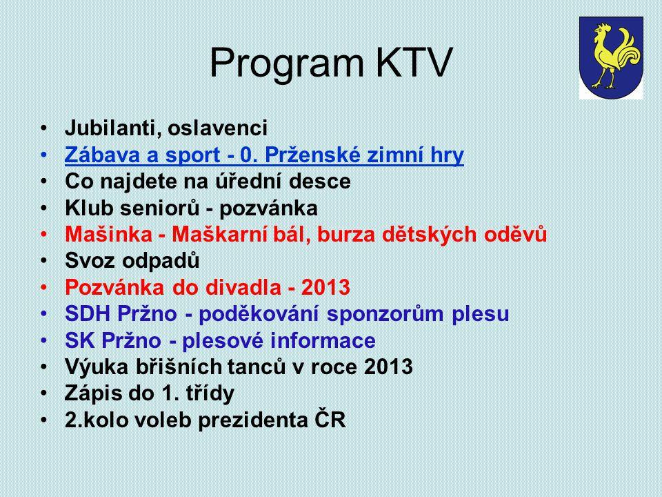 Program KTV Jubilanti, oslavenci Zábava a sport - 0. Prženské zimní hry Co najdete na úřední desce Klub seniorů - pozvánka Mašinka - Maškarní bál, bur