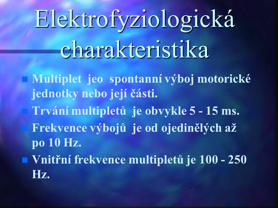Elektrofyziologická charakteristika n n Multiplet jeo spontanní výboj motorické jednotky nebo její části. n n Trvání multipletů je obvykle 5 - 15 ms.