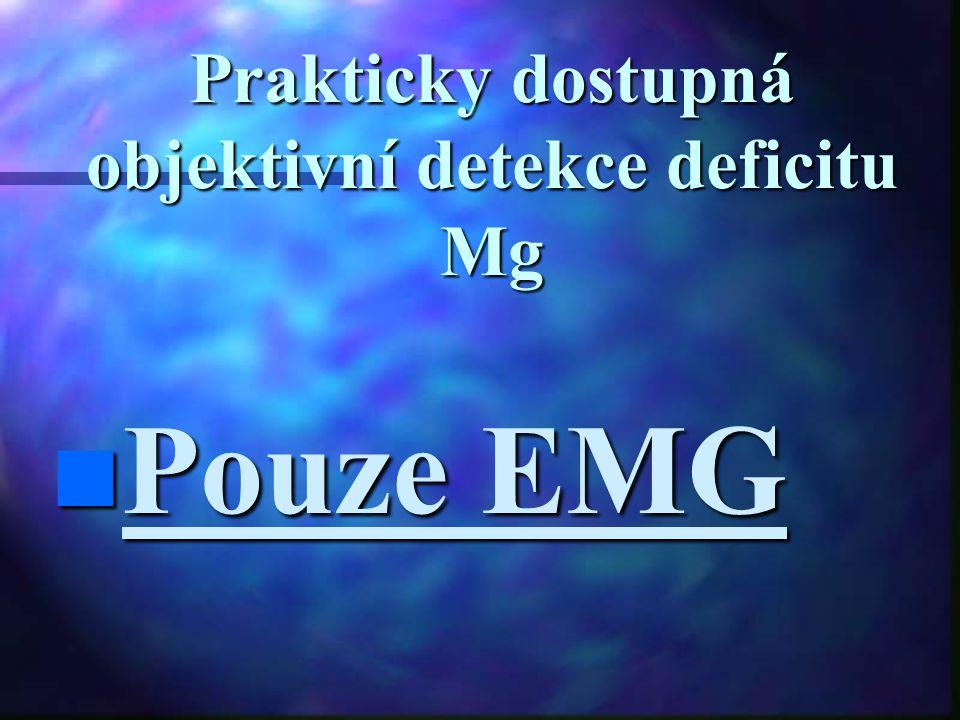 Prakticky dostupná objektivní detekce deficitu Mg Pouze EMG Pouze EMG