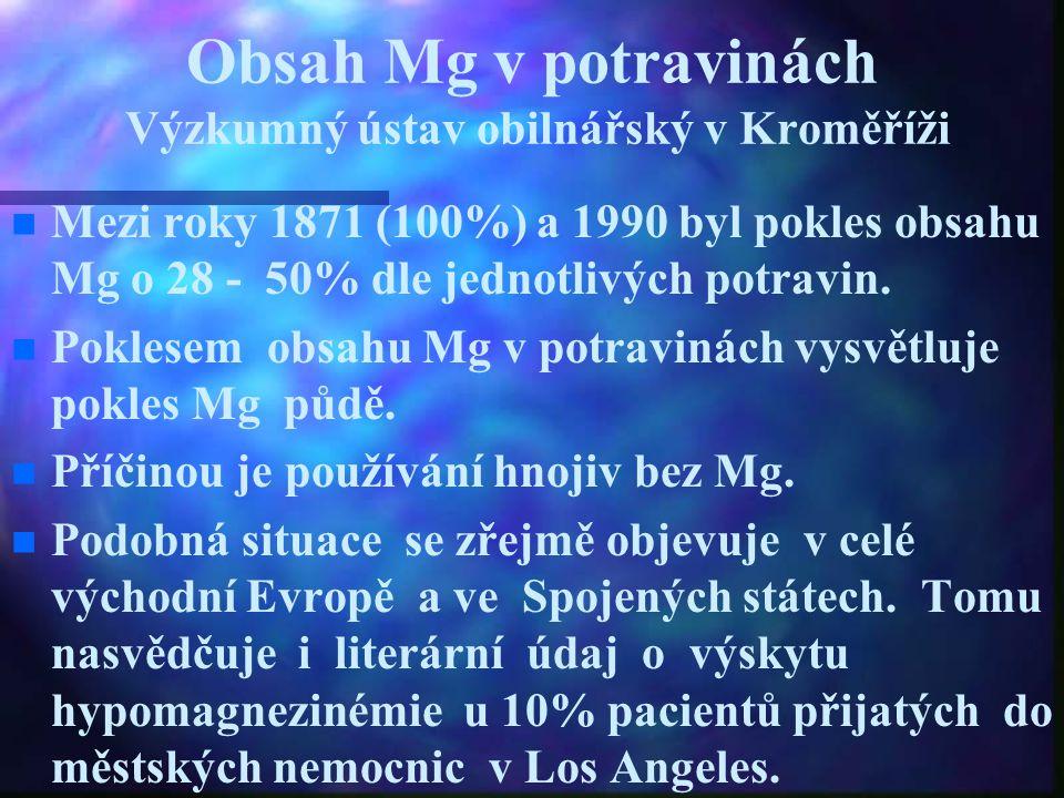 Obsah Mg v potravinách Výzkumný ústav obilnářský v Kroměříži n n Mezi roky 1871 (100%) a 1990 byl pokles obsahu Mg o 28 - 50% dle jednotlivých potravi