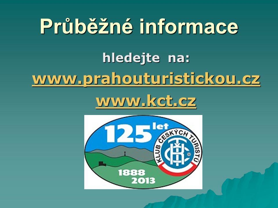 Průběžné informace hledejte na: www.prahouturistickou.cz www.kct.cz