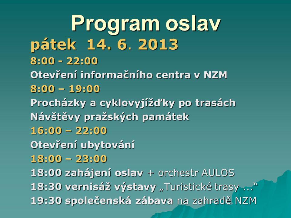 Program oslav pátek 14.6.