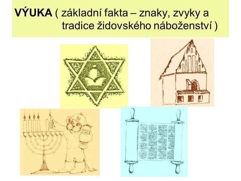VÝUKA VÝUKA ( základní fakta – znaky, zvyky a tradice židovského náboženství )