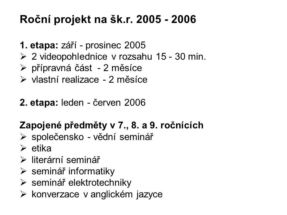 Roční projekt na šk.r. 2005 - 2006 1. etapa: září - prosinec 2005  2 videopohlednice v rozsahu 15 - 30 min.  přípravná část - 2 měsíce  vlastní rea