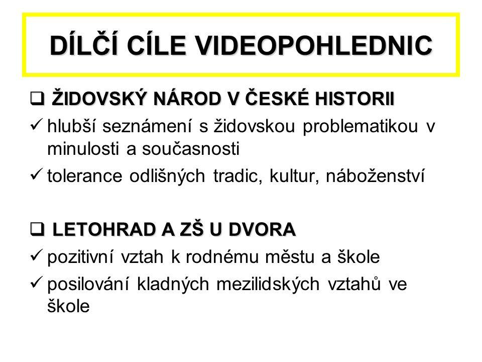 DÍLČÍ CÍLE VIDEOPOHLEDNIC  ŽIDOVSKÝ NÁROD V ČESKÉ HISTORII hlubší seznámení s židovskou problematikou v minulosti a současnosti tolerance odlišných t