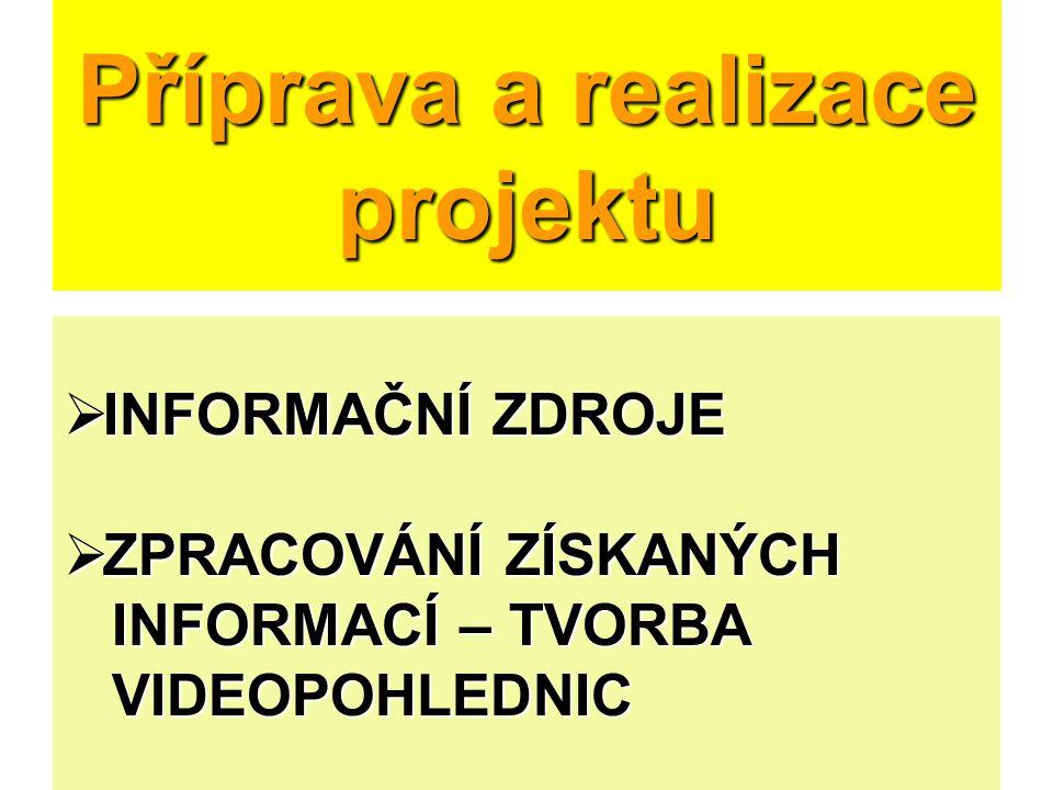 Příprava a realizace projektu  INFORMAČNÍ ZDROJE  ZPRACOVÁNÍ ZÍSKANÝCH INFORMACÍ – TVORBA INFORMACÍ – TVORBA VIDEOPOHLEDNIC VIDEOPOHLEDNIC