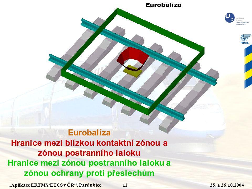 """""""Aplikace ERTMS/ETCS v ČR"""", Pardubice 1125. a 26.10.2004 Eurobalíza Hranice mezi blízkou kontaktní zónou a zónou postranního laloku Hranice mezi zónou"""