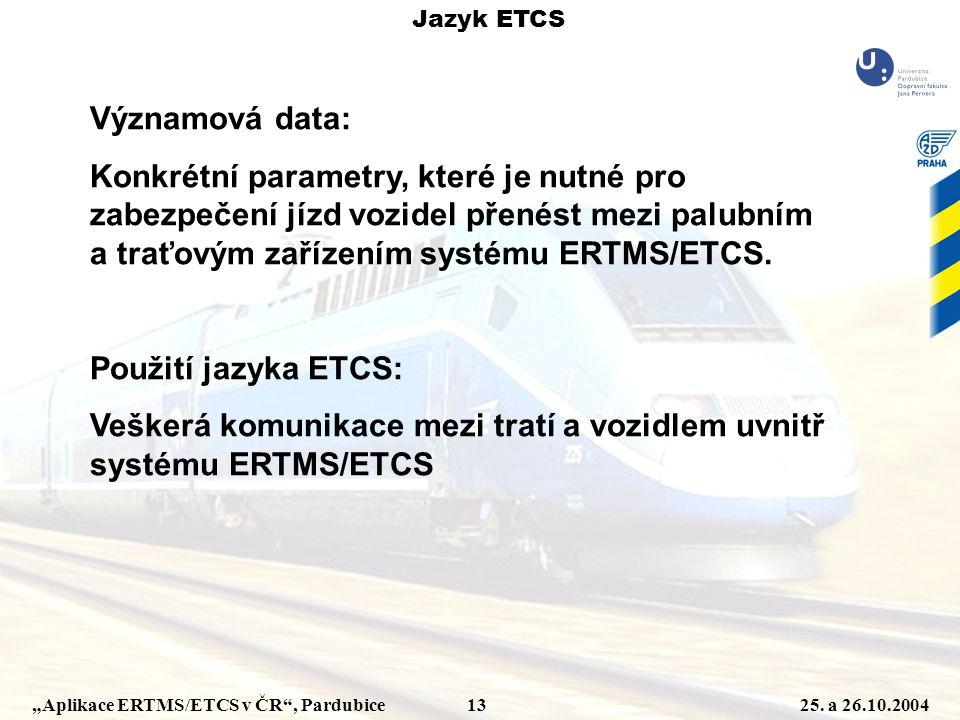 """""""Aplikace ERTMS/ETCS v ČR"""", Pardubice 1325. a 26.10.2004 Významová data: Konkrétní parametry, které je nutné pro zabezpečení jízd vozidel přenést mezi"""