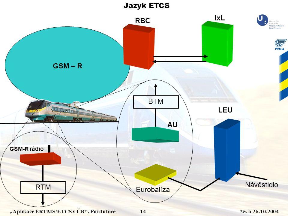 """Aplikace ERTMS/ETCS v ČR"", Pardubice 1425. a 26.10.2004 GSM – R BTM Eurobalíza AU Jazyk ETCS LEU Návěstidlo RBC IxL RTM GSM-R rádio"