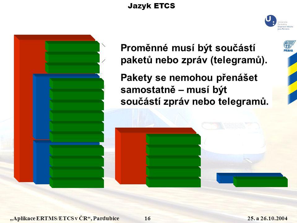 """""""Aplikace ERTMS/ETCS v ČR"""", Pardubice 1625. a 26.10.2004 Jazyk ETCS Hlavička zprávy Hlavička paketu Proměnné musí být součástí paketů nebo zpráv (tele"""