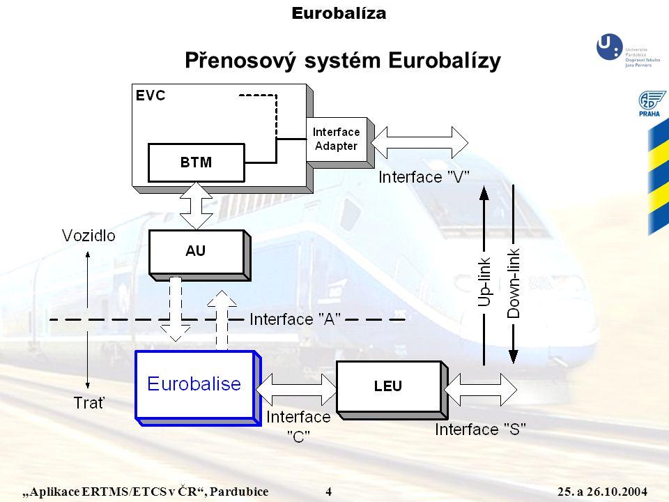 """""""Aplikace ERTMS/ETCS v ČR"""", Pardubice 425. a 26.10.2004 Přenosový systém Eurobalízy Eurobalíza"""