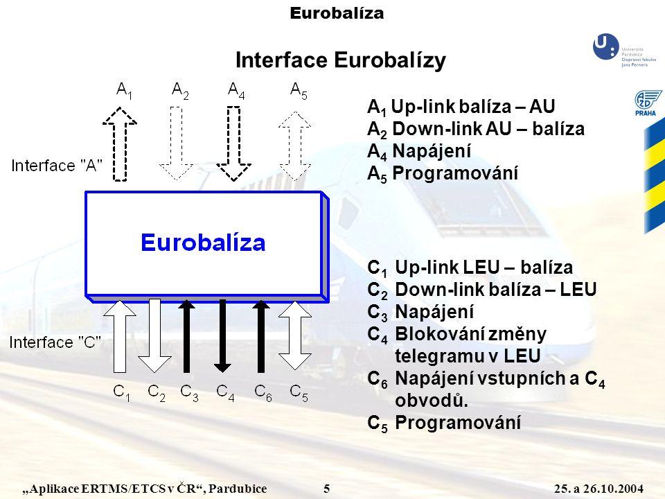 """""""Aplikace ERTMS/ETCS v ČR"""", Pardubice 525. a 26.10.2004 Eurobalíza A 1 Up-link balíza – AU A 2 Down-link AU – balíza A 4 Napájení A 5 Programování C 1"""