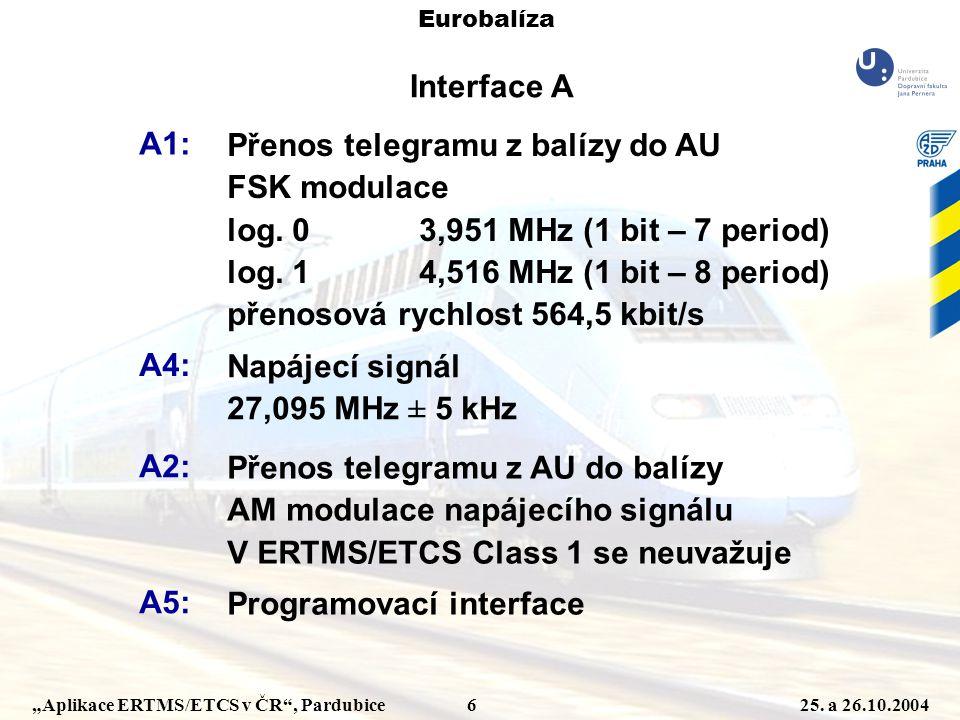"""""""Aplikace ERTMS/ETCS v ČR"""", Pardubice 625. a 26.10.2004 Eurobalíza Interface A A1: Přenos telegramu z balízy do AU FSK modulace log. 03,951 MHz (1 bit"""