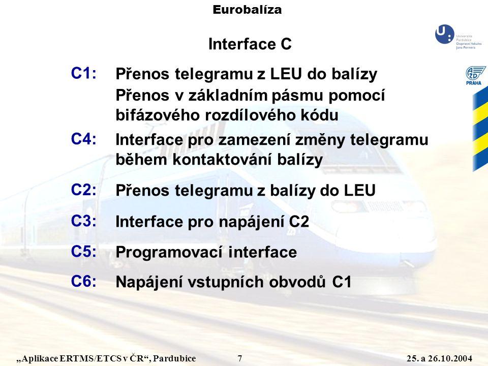 """""""Aplikace ERTMS/ETCS v ČR"""", Pardubice 725. a 26.10.2004 Eurobalíza Interface C C1: Přenos telegramu z LEU do balízy Přenos v základním pásmu pomocí bi"""