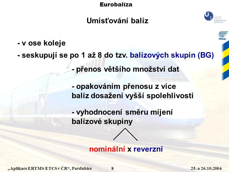 """""""Aplikace ERTMS/ETCS v ČR"""", Pardubice 825. a 26.10.2004 Eurobalíza Umísťování balíz - v ose koleje - seskupují se po 1 až 8 do tzv. balízových skupin"""