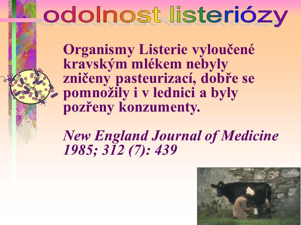 Organismy Listerie vyloučené kravským mlékem nebyly zničeny pasteurizací, dobře se pomnožily i v lednici a byly pozřeny konzumenty. New England Journa