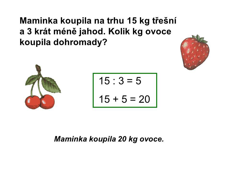 Maminka koupila na trhu 15 kg třešní a 3 krát méně jahod. Kolik kg ovoce koupila dohromady? Maminka koupila 20 kg ovoce. 15 : 3 = 5 15 + 5 = 20