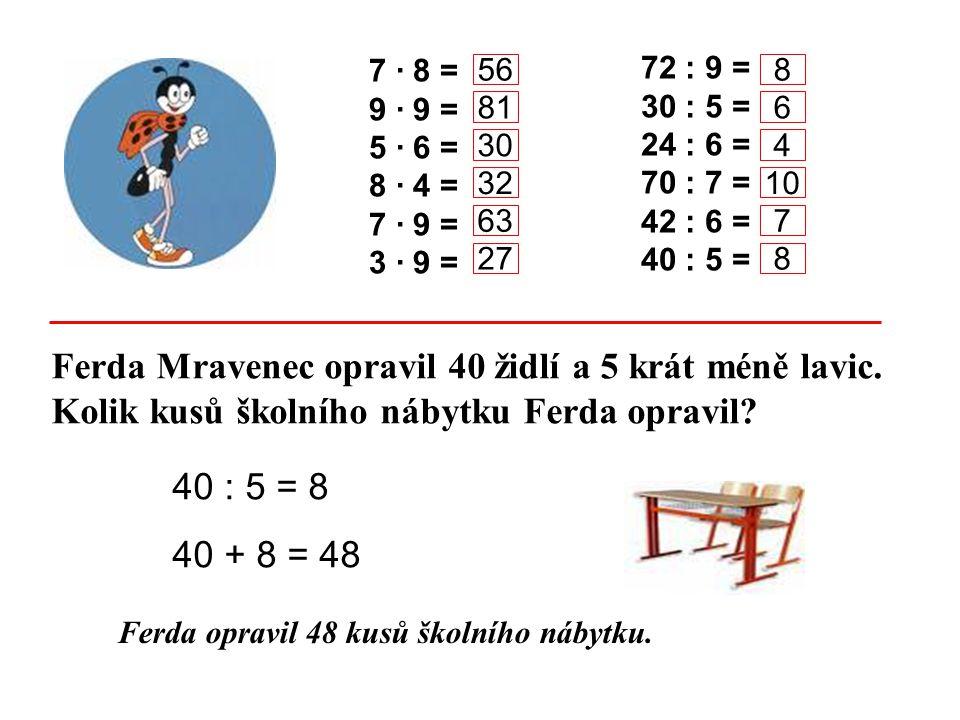 Ferda Mravenec opravil 40 židlí a 5 krát méně lavic. Kolik kusů školního nábytku Ferda opravil? Ferda opravil 48 kusů školního nábytku. 7 · 8 = 9 · 9