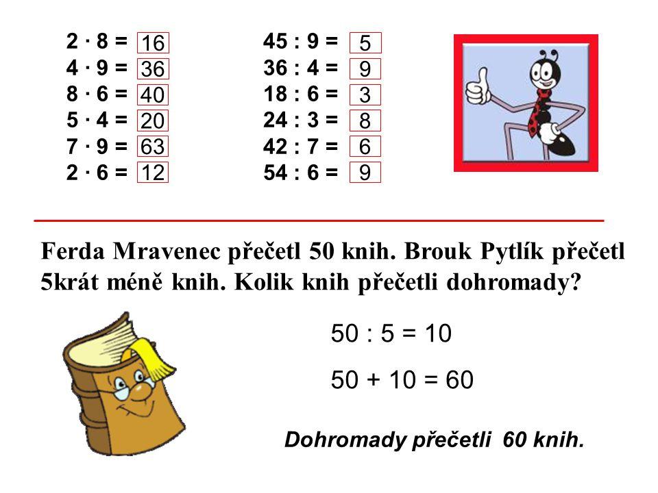 2 · 8 = 4 · 9 = 8 · 6 = 5 · 4 = 7 · 9 = 2 · 6 = 45 : 9 = 36 : 4 = 18 : 6 = 24 : 3 = 42 : 7 = 54 : 6 = Ferda Mravenec přečetl 50 knih. Brouk Pytlík pře