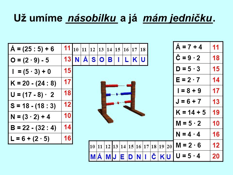 Á = 7 + 4 Č = 9 · 2 D = 5 · 3 E = 2 · 7 I = 8 + 9 J = 6 + 7 K = 14 + 5 M = 5 · 2 N = 4 · 4 M = 2 · 6 U = 5 · 4 1011121314151617181920 Á = (25 : 5) + 6
