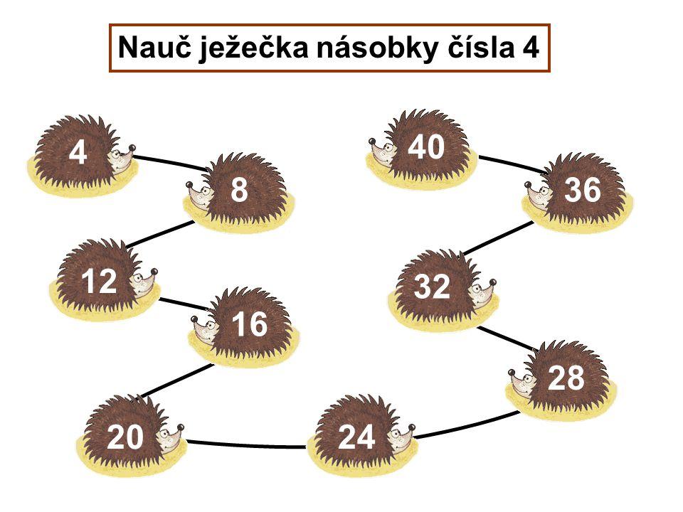Nauč ježečka násobky čísla 4 4 8 12 16 2024 28 32 36 40