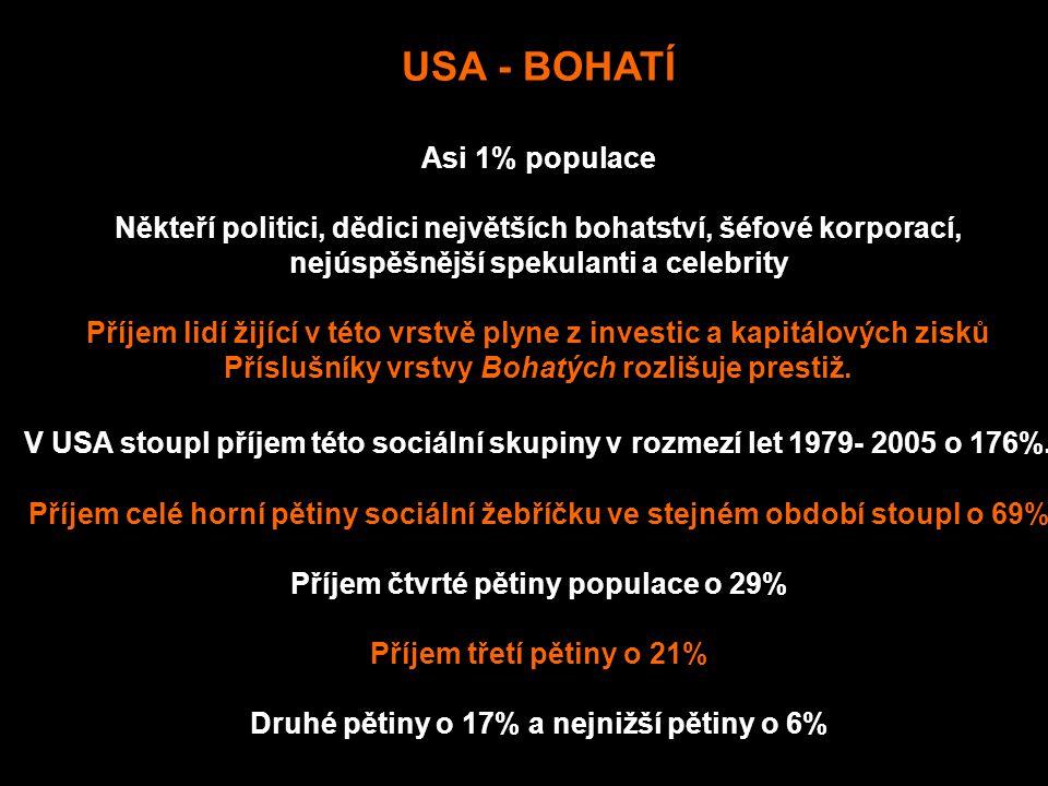 USA - BOHATÍ Asi 1% populace Někteří politici, dědici největších bohatství, šéfové korporací, nejúspěšnější spekulanti a celebrity Příjem lidí žijící