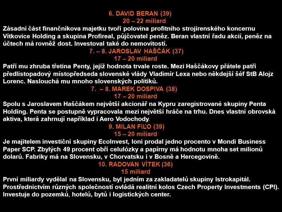 6. DAVID BERAN (39) 20 – 22 miliard Zásadní část finančníkova majetku tvoří polovina profitního strojírenského koncernu Vítkovice Holding a skupina Pr