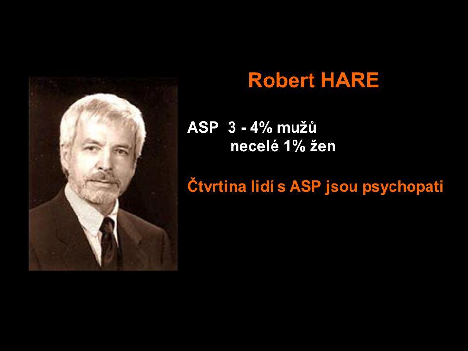 Robert HARE ASP 3 - 4% mužů necelé 1% žen Čtvrtina lidí s ASP jsou psychopati