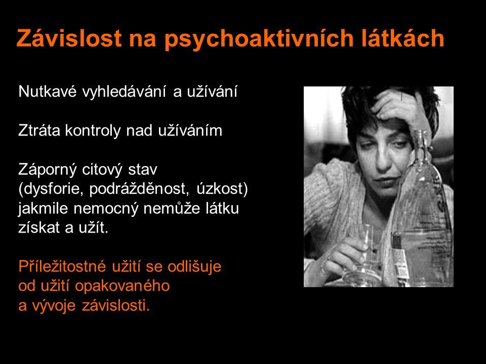 Závislost na psychoaktivních látkách Nutkavé vyhledávání a užívání Ztráta kontroly nad užíváním Záporný citový stav (dysforie, podrážděnost, úzkost) jakmile nemocný nemůže látku získat a užít.