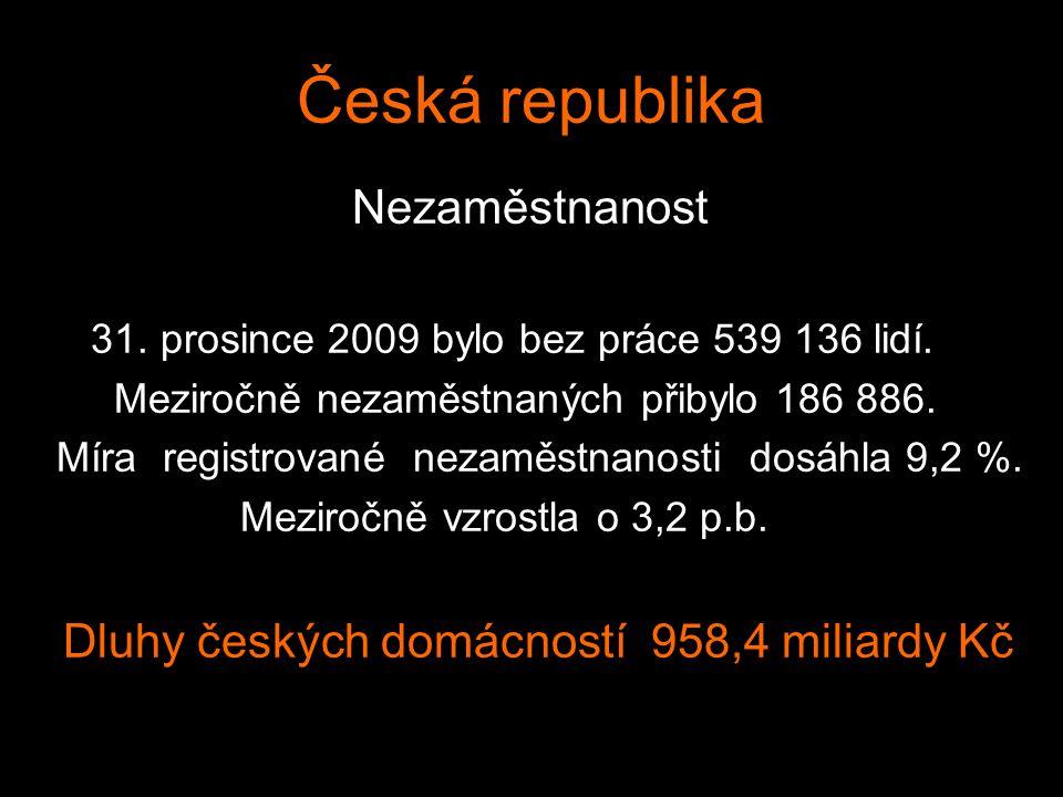 Česká republika Nezaměstnanost 31. prosince 2009 bylo bez práce 539 136 lidí. Meziročně nezaměstnaných přibylo 186 886. Míra registrované nezaměstnano