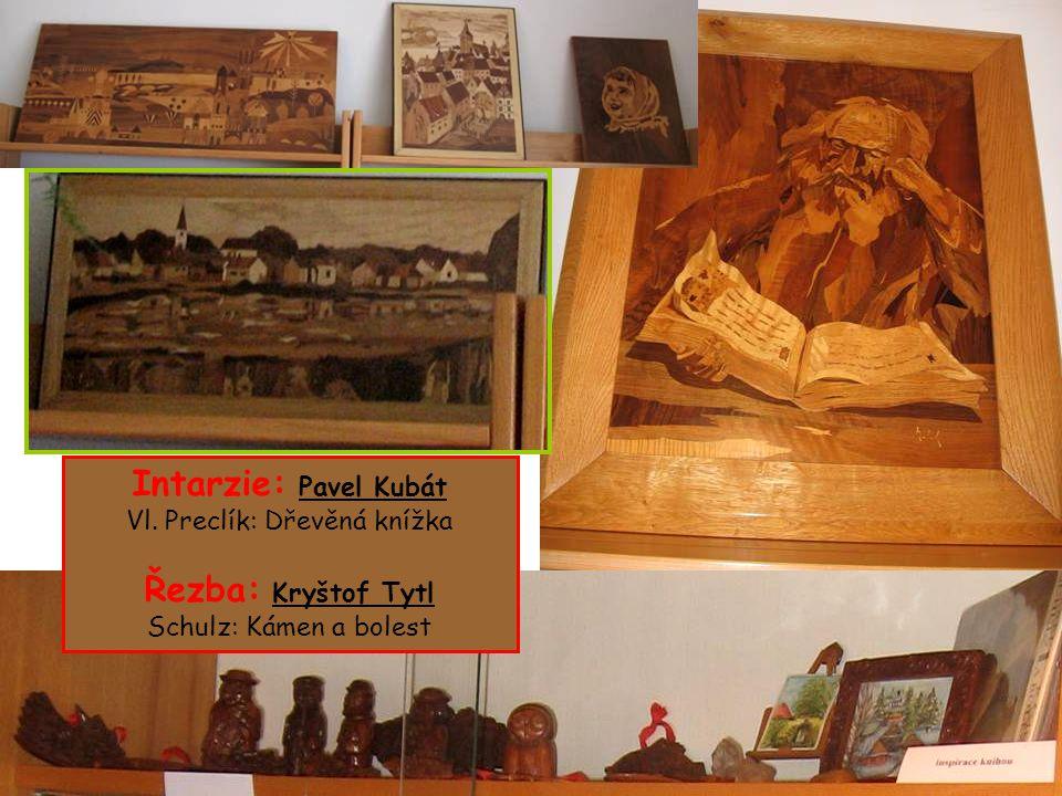 Intarzie: Pavel Kubát Vl. Preclík: Dřevěná knížka Řezba: Kryštof Tytl Schulz: Kámen a bolest