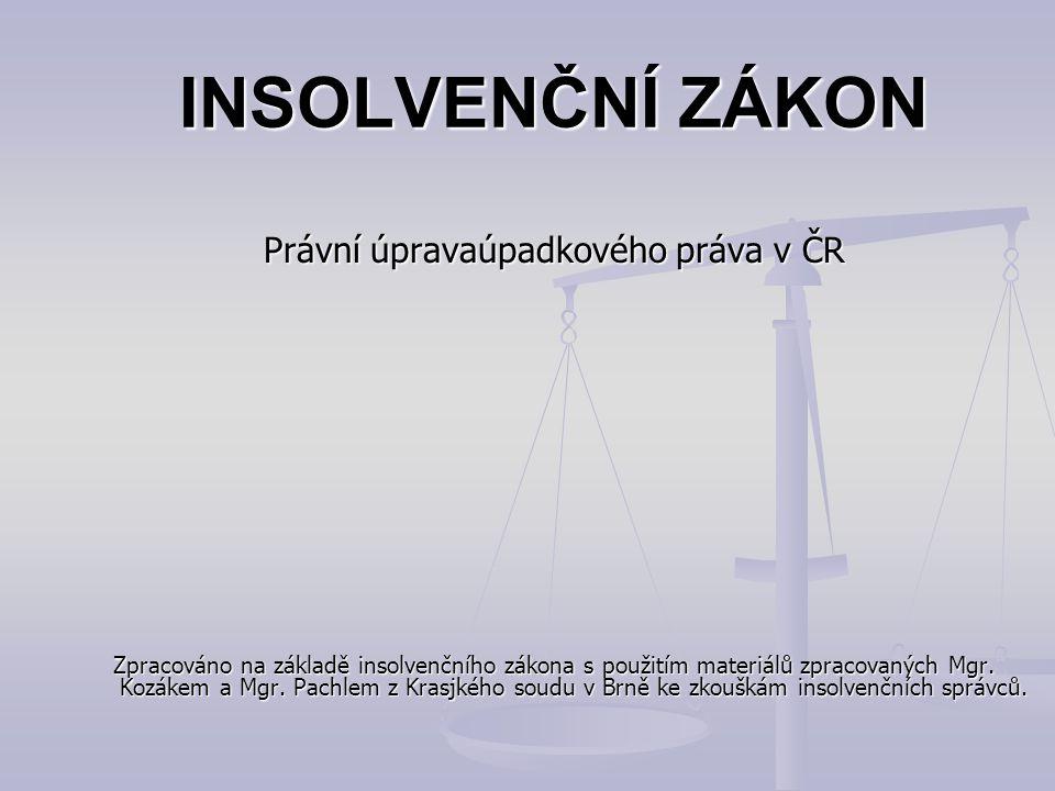 INSOLVENČNÍ ZÁKON Právní úpravaúpadkového práva v ČR Zpracováno na základě insolvenčního zákona s použitím materiálů zpracovaných Mgr. Kozákem a Mgr.