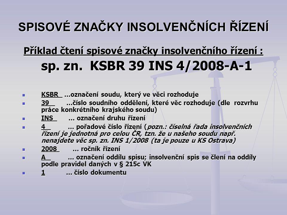 SPISOVÉ ZNAČKY INSOLVENČNÍCH ŘÍZENÍ Příklad čtení spisové značky insolvenčního řízení : sp. zn. KSBR 39 INS 4/2008-A-1 KSBR …označení soudu, který ve