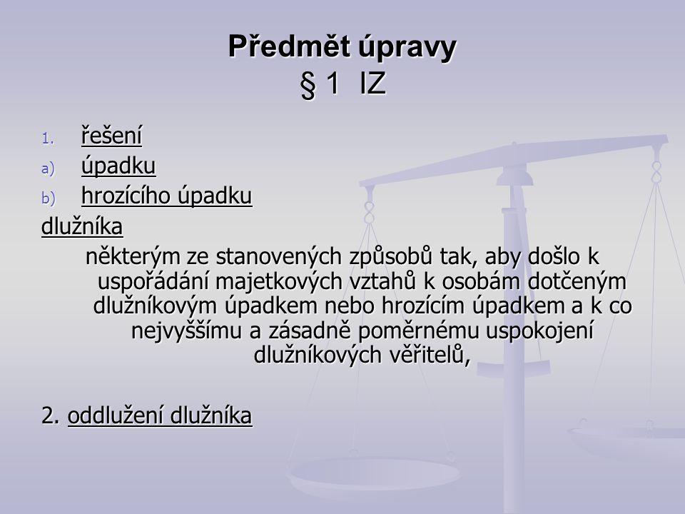 Právní normy na úrovni zákona Zákon č.182/2006 Sb., Insolvenční zákon Zákon č.