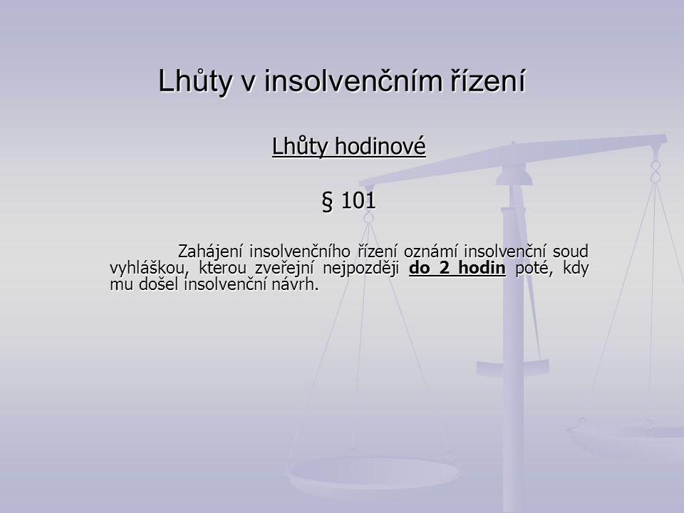Lhůty v insolvenčním řízení Lhůty hodinové § 101 Zahájení insolvenčního řízení oznámí insolvenční soud vyhláškou, kterou zveřejní nejpozději do 2 hodi