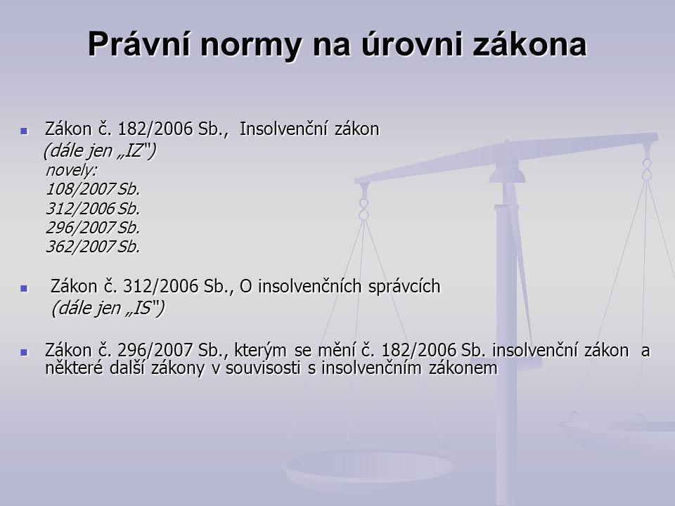 """Právní normy na úrovni zákona Zákon č. 182/2006 Sb., Insolvenční zákon Zákon č. 182/2006 Sb., Insolvenční zákon (dále jen """"IZ"""") (dále jen """"IZ"""") novely"""