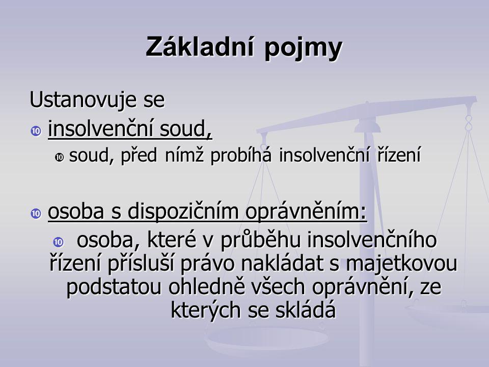 Základní pojmy Insolvenční rejstřík (ISIR):  informační systém, který obsahuje údaje podle tohoto zákona  Dostupný na www.justice.cz