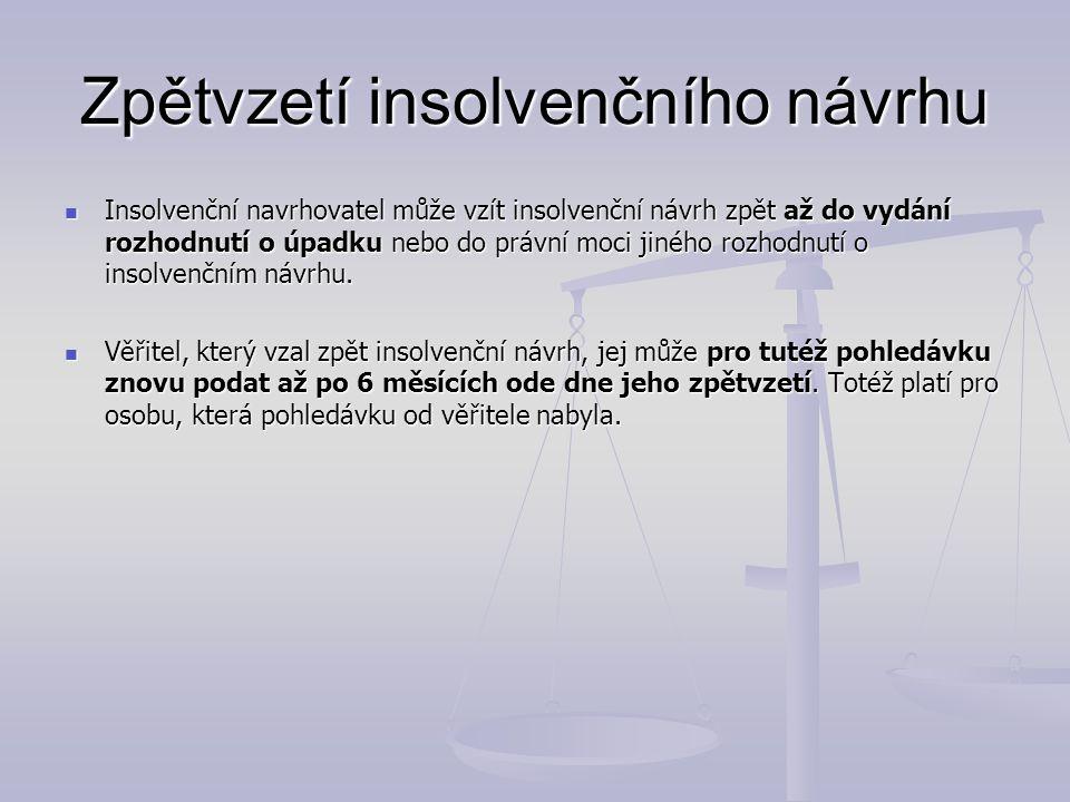 Zpětvzetí insolvenčního návrhu Insolvenční navrhovatel může vzít insolvenční návrh zpět až do vydání rozhodnutí o úpadku nebo do právní moci jiného ro