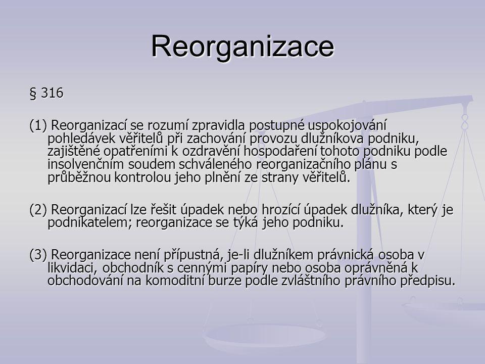 Reorganizace § 316 (1) Reorganizací se rozumí zpravidla postupné uspokojování pohledávek věřitelů při zachování provozu dlužníkova podniku, zajištěné