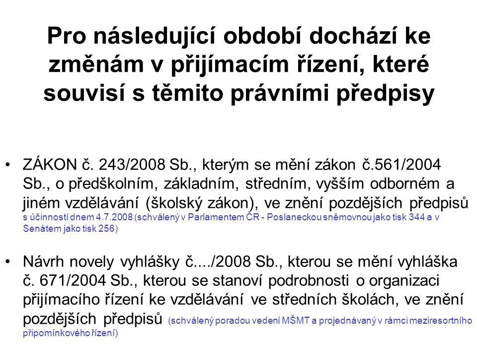Pro následující období dochází ke změnám v přijímacím řízení, které souvisí s těmito právními předpisy ZÁKON č.