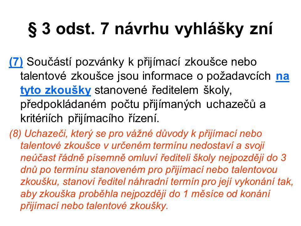 § 3 odst. 7 návrhu vyhlášky zní (7) Součástí pozvánky k přijímací zkoušce nebo talentové zkoušce jsou informace o požadavcích na tyto zkoušky stanoven