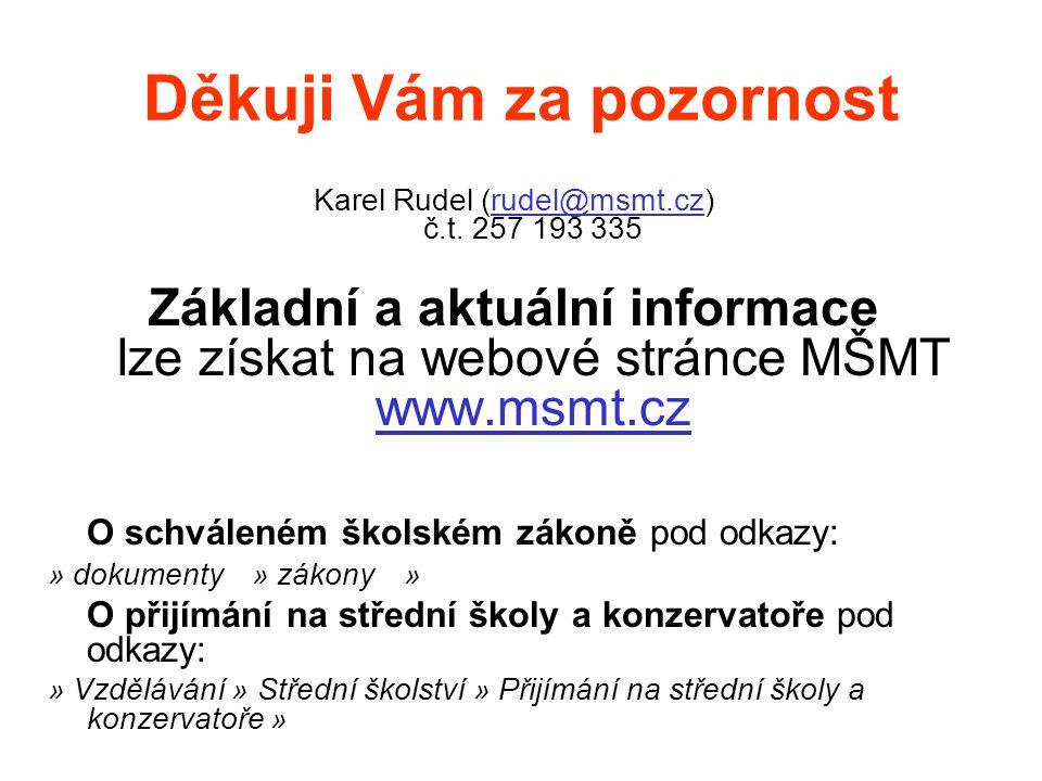 Děkuji Vám za pozornost Karel Rudel (rudel@msmt.cz) č.t. 257 193 335rudel@msmt.cz Základní a aktuální informace lze získat na webové stránce MŠMT www.