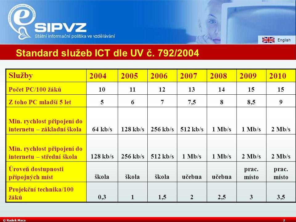 © Radek Maca2 Standard služeb ICT dle UV č. 792/2004 Služby2004200520062007200820092010 Počet PC/100 žáků101112131415 Z toho PC mladší 5 let5677,588,5