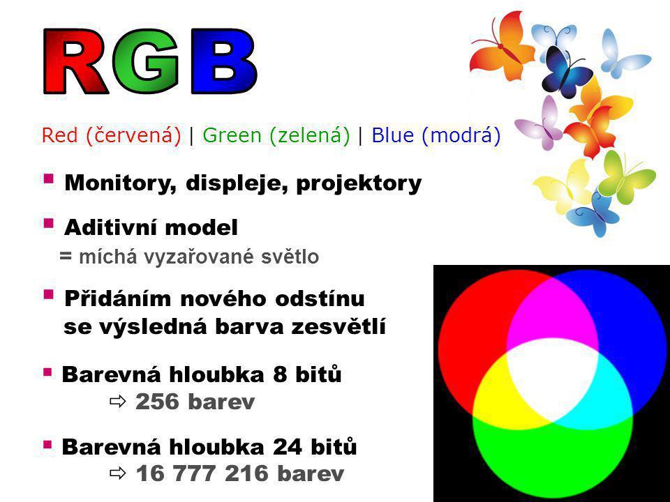Red (červená) | Green (zelená) | Blue (modrá)  Monitory, displeje, projektory  Aditivní model = míchá vyzařované světlo  Přidáním nového odstínu se výsledná barva zesvětlí  Barevná hloubka 8 bitů  256 barev  Barevná hloubka 24 bitů  16 777 216 barev
