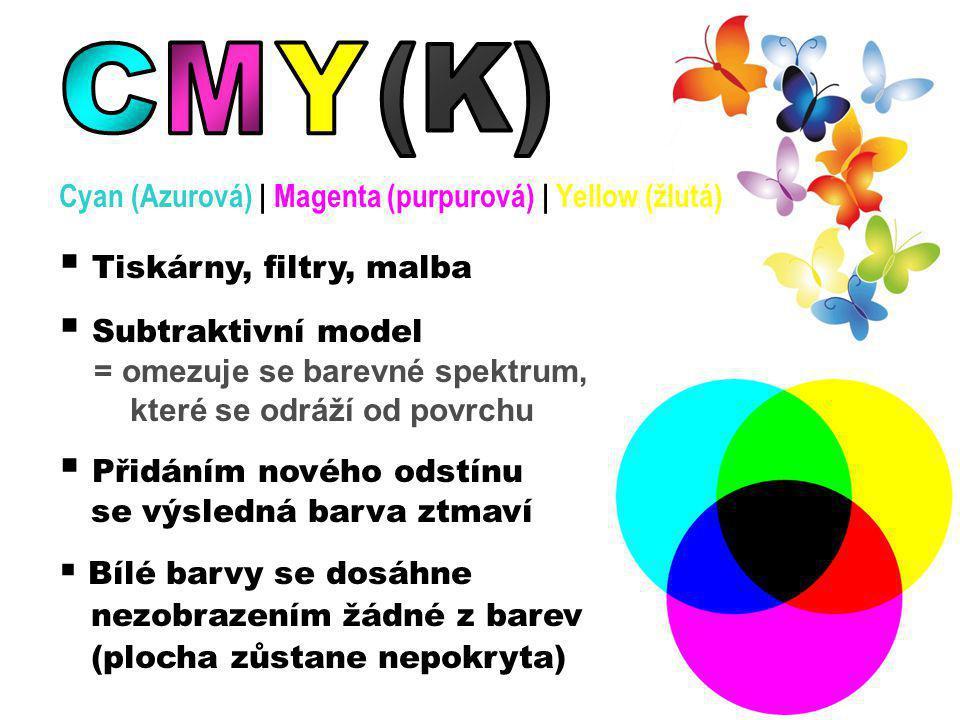 Cyan (Azurová)   Magenta (purpurová)   Yellow (žlutá)  Tiskárny, filtry, malba  Subtraktivní model = omezuje se barevné spektrum, které se odráží od