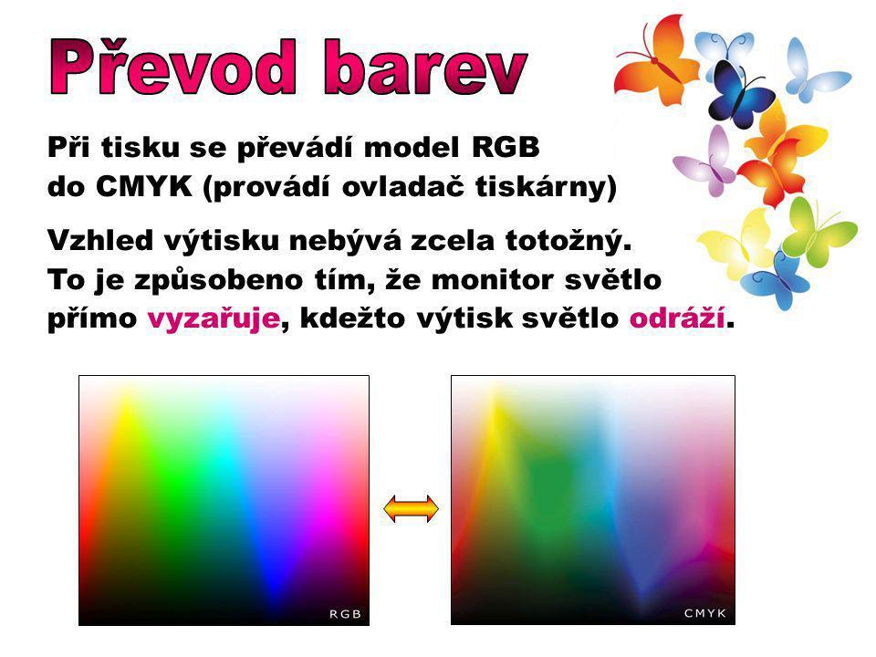 Při tisku se převádí model RGB do CMYK (provádí ovladač tiskárny) Vzhled výtisku nebývá zcela totožný. To je způsobeno tím, že monitor světlo přímo vy