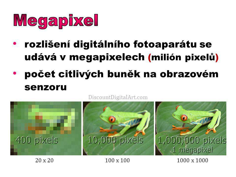 rozlišení digitálního fotoaparátu se udává v megapixelech (milión pixelů) počet citlivých buněk na obrazovém senzoru DiscountDigitalArt.com 20 x 20100 x 1001000 x 1000