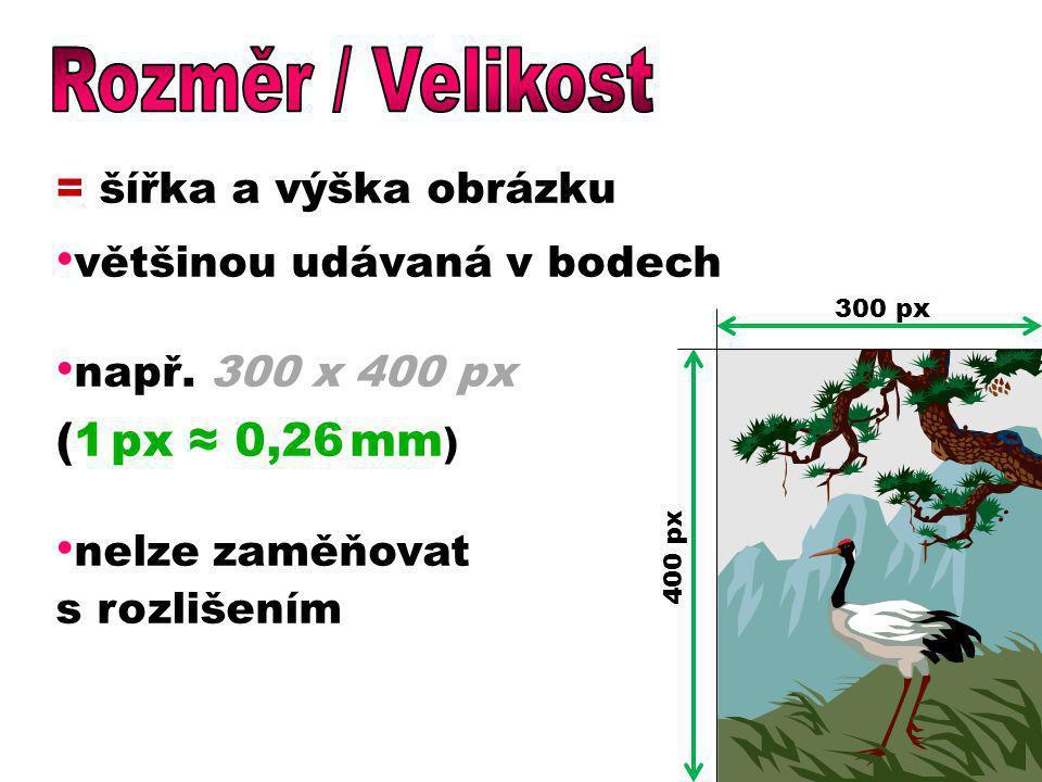 = šířka a výška obrázku většinou udávaná v bodech např. 300 x 400 px (1 px ≈ 0,26 mm ) nelze zaměňovat s rozlišením 300 px 400 px