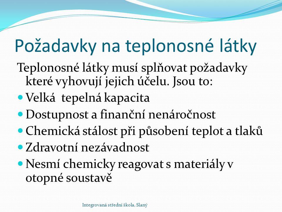 Požadavky na teplonosné látky Teplonosné látky musí splňovat požadavky které vyhovují jejich účelu. Jsou to: Velká tepelná kapacita Dostupnost a finan